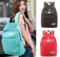 Fashion Canvas Dot Girls Backpack School Bag Casual Women Satchel Shoulder Bag,Book Computers Rucksack Free Shipping