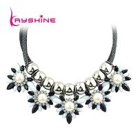 Colares Femininos PU Leather And Imitation Gemstone Flower Shape Necklace For Women From India 2014 New Fashion