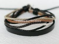 539 Men's black leather bracelet Leather cord bracelet Cotton ropes bracelet Fashion leather jewelry For men and women