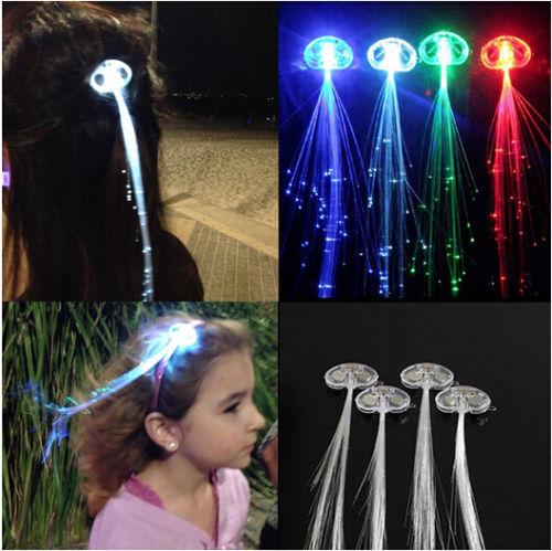 6 Pcs/Lot New Flash led lighting luminous pigtail fiber optic wire braid hairpin stunning prom#M01078(China (Mainland))