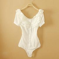Fanshou Free Shipping 2014 Women Blouses Short Sleeve Casual Body Shirt Women O-Neck Fashion Ruffles White Bodysuit Blusas