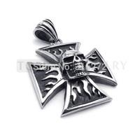 Topearl Jewelry 3pcs Mens Stainless Steel Gothic Skull Pendant Maltese Iron Cross MEP478