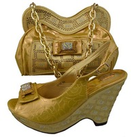 Design No.GF07-gold!new pattern African shoes and matching bags for party!top quality women shoes and bags with rhinestones!