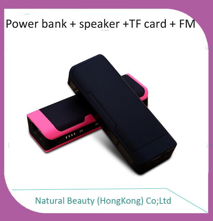 1pcs free shipping portable mini bluetooth speaker+4000mAh mobile power bank battery+TF card socket+FM radio+Hand-free function(Hong Kong)