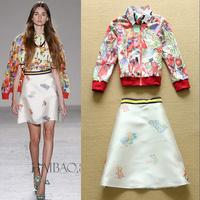 Drop Price 2015 Designer Fashion 3 pcs Set  Women's Shirt+Blazer +A-line Mini Skirt Party Holiday Wear Free Shipping F16583