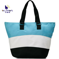 Fashion women's tote bags color block casual stripes handbag made of nylon high quality 4 color combination B259