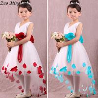 Summer New Dress Elegant girl pretty little flowers belt V-neck vest dress for Children 2 Color Size(US):3T - 10 free shipping