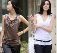 Women Tops Fashion 2014 Vintage Cowl Neck Camisa Feminina Cotton Shirred Rivets Blouse Vest Shirts t-shirt das mulheres