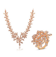 Female Women Jewelry Genuine Austria Rose Gold Five Petals Flower Crystals Necklace+Ring Chain Sets Party Anniversary Alloy