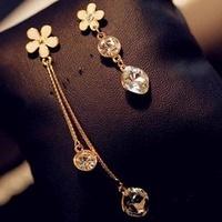 Bling Beans Sparkling Crystal Flower Elegant Asymmetrical Women Tassel Earrings Drop Earring Wedding Jewelry Accessories