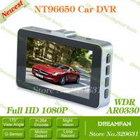 Novatek NT96650 car dvr full hd 1080p camera car video Recorder Aluminum Alloy Edging 3.0 Inch TFT  LCD 170 degree wide angle
