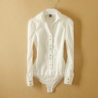 Fanshou Free Shipping 2014 Women Blouses Long Sleeve Body Shirt Women Turn-down Collar Blouse Casual Bodysuit Blusas Femininas