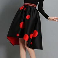 Autumn Winter Fashion Womens Vintage Retro Hepburn Polka Dot Asymmetrical High Waist A-Line Knee-Length Midi Skirts Ball Gown