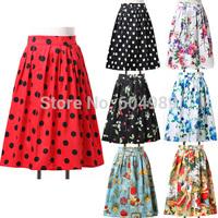 2015 Autumn Winter Flower Print Pattern/Polka Dots 50s Vintage Retro Hepburn Skirt Women Casual Swing Skirts saia feminina 6294