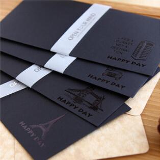 20 pcs/lot (4 bags) DIY Fashion Vintage Retro Black Paper Envelope Eiffel Tower Bus London Design Free shipping 263(China (Mainland))