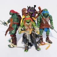 Free Shipping 5pcs/set Teenage Mutant Ninja Turtles TMNT Leonardo Raphael O'Neal Donatello PVC Action Figure toy 15cm