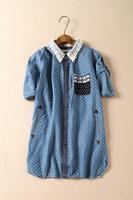 2015 summer women's short sleeve denim shirt  Japanese sweet styles lace shirt Free shipping