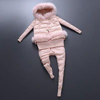 New Arrival 2015 Winter European Fashion Women Ladies Brand Elegant Raccoon Fur Hood Cotton-padded Vest Hoody Pants Suit Set