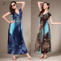 V Neck Women Dress Evening Party Elegant Long Dress Print Blue Sexy Party Clubwear Maxi Dress Plus Size Women Clothing