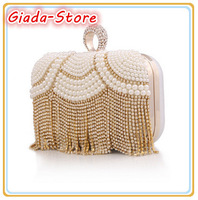 New Retro Fashion Handmade Beaded Women Party Ring Hasp Evening Bag Luxury Pearl Tassel Diamond Wedding Handbag Day Clutches