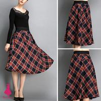 2014 Vintage Woman Hepburn Plaids Plaid Checks Print High Waist Pleated A-line Midi Swing Skirt New Arrivals Saias Femininas