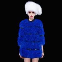 Free shipping DHL High quality lamb fur stitching leather winter coat jacket women luxury elegant star style outwear wholesale