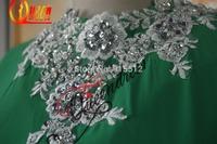 Hottest Real Scoop Neckline White Lace Lime Green Chiffon Beading Custom Made Dubai Fashion Abaya 2014