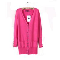 2014 new European Fashion Mid-long Solid Shell Button sweater Womens Sweatshirts Cardigans casacos femininos plus size