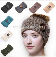 fashion women's crochet Wool wood button headband knit hair band teenager girls knitted wide Headbands Winter Hair Accessories