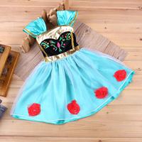 2014 New Frozen Summer Dress braces floral Dress Children Clothing