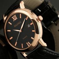 ESS Men's Classic Black Dial Auto Date Leather Elegant Leather Strap Dandy Quartz Wrist Watch WA027
