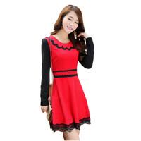 Hot New Fashion Ladies Winter Dress Lace Stitching Round Neck Long-Sleeved Dress Women Plus Size Knitted Cotton Dress