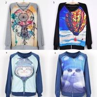 [Magic] Hot print new made for women cardigans zipper V-neck cotton hoodies women casual sweatshirt 21models free shipping
