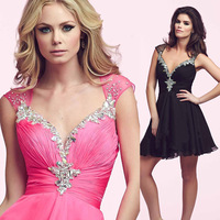 2015 Christmas Fuschia Black Short Cocktail Dress for Party Pleated Vestido de Festa Curto Chiffon E6276