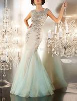 Tulle Fabric vestidos de gala 100% Beading Hand Work Long Mermaid Prom Dress OL102433