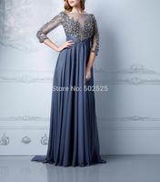 Chiffon Fabric vestido formatura 100% Beading Hand Work Long Sleeve Prom Dresses OL102434
