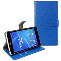 2014 New Crazy Horse Wallet PU Leather Case for Sony Xperia Z2 Stand Cover Skin With Card Slots