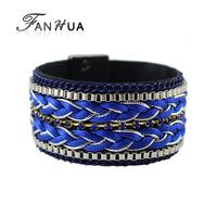 PU Leather Tibetan Bracelet Bangles Blue Pulseira New Designer Bijoux Women New Year Gift