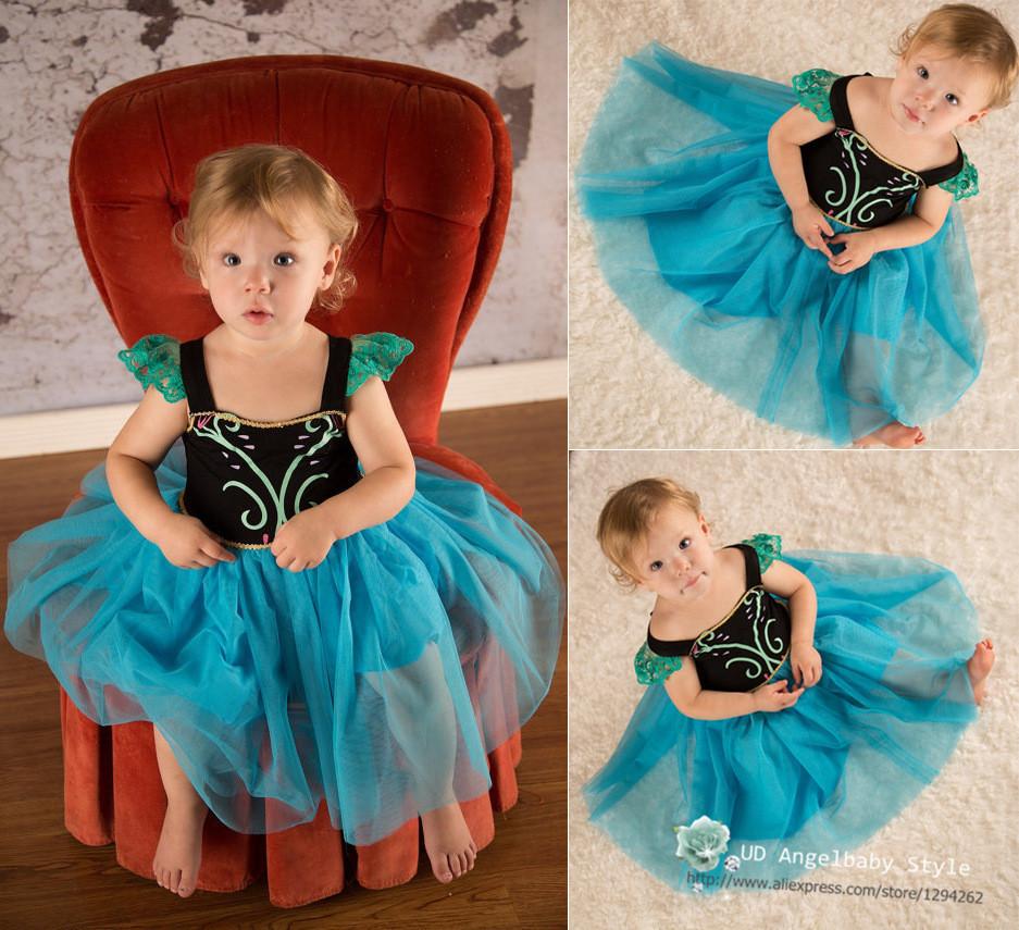 Very Beautiful Frozen Girls Party Dresses Cartoon Cosplay Elsa Anna Princess Dress Babies Kids Clothing Wholesale Dresses DHL Fa(China (Mainland))
