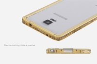 Plastic Imitation Metal Diamond Rhinestone Mobile Phone Case For Samsung Note 4 N9100 Border Bumper Protective Shell