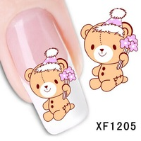 30 Packs water transfer nail stickers decals nail art decoration tool Bear Design Free shipping wholesale 1205