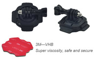 Motorcycle Cycling Bike Helmet Mount 360 Degree Turn Lock Rotary with 3M VHB sticky and Tripod Adapter