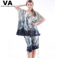 Pajamas for Women Plus Size XXXXL O Neck Short Sleeve Rayon Silk Woman Pajama Set 2014 Hot Loose Indoor Clothing 2XL 3XL W00183