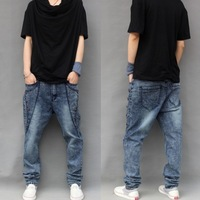 2014 fashion plus size men designer jeans water wash low crotch harem  jeans blue elastic big harem pants