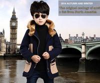2014 new children's clothing boys jacket children fall and winter woolen coat big virgin wool long coat tide kids clothes