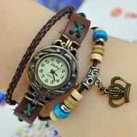 Free ship Women ladies genuine cow leather quartz watch Roman scale retro bronze Crown vintage watch wristwatches