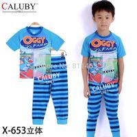6 sets/lot / 2014 new boys short sleeve cartoon OGGY clothes set / children pajamas / kids sleepwear
