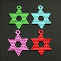 20pcs/lot 27*20mm random mix color color plated zinc alloy star of david charms