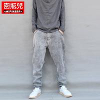 Autumn and winter jeans male grey denim skinny pants harem pants male big personality pants large file pants