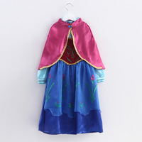 Spot Christmas Sale 2014 European and American Fro Princess Anna Dress With Cape Girls Fro Dress Size 100-140 Free Shippin